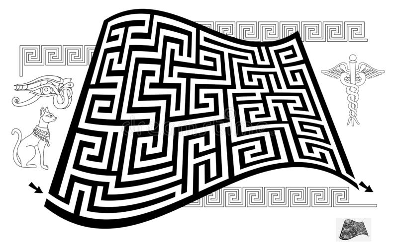 Logical puzzle game with labyrinth for children and adults. Find way from start to end. Printable worksheet for kids brain teaser book. Maze in Egyptian style vector illustration