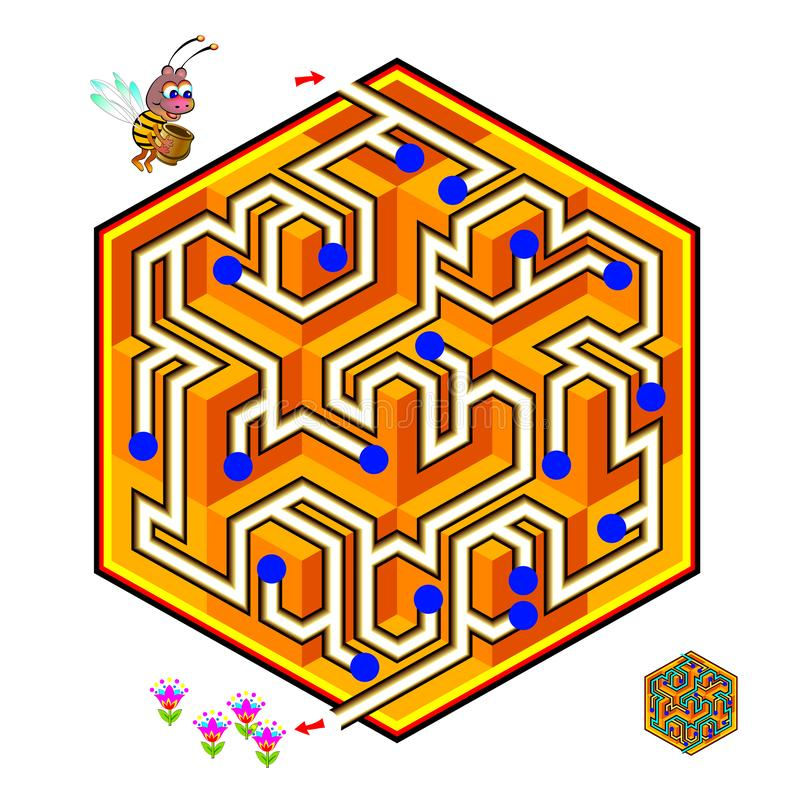 Logical puzzle game with labyrinth for children and adults. Help the little bee find the way in honeycomb till flowers. Printable worksheet for kids brain vector illustration
