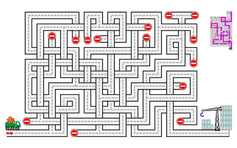 Logical puzzle game with labyrinth for children and adults. Help the lorry deliver bricks to the construction of houses. Printable worksheet for kids brain royalty free illustration