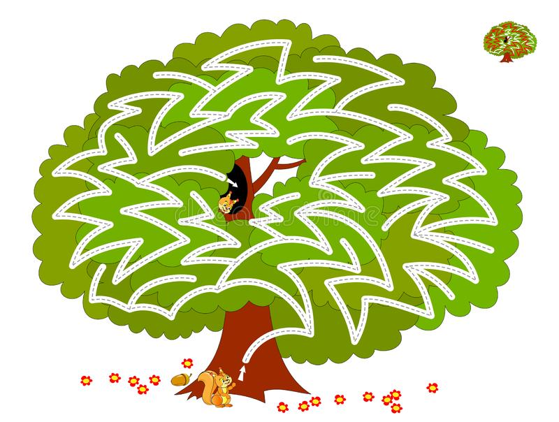 Logical puzzle game with labyrinth for children and adults. Help the squirrel find way in the tree till his friend. Printable worksheet for kids brain teaser stock illustration