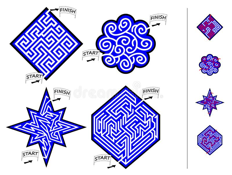 Logical puzzle game with labyrinth for children and adults. Set of little mazes. Find the way from start till finish. Printable worksheet for kids brain teaser royalty free illustration