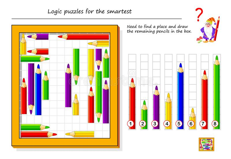 Logical puzzle game for smartest. Need to find a place and draw the remaining pencils in the box. Printable page for brain teaser book. Developing spatial stock illustration