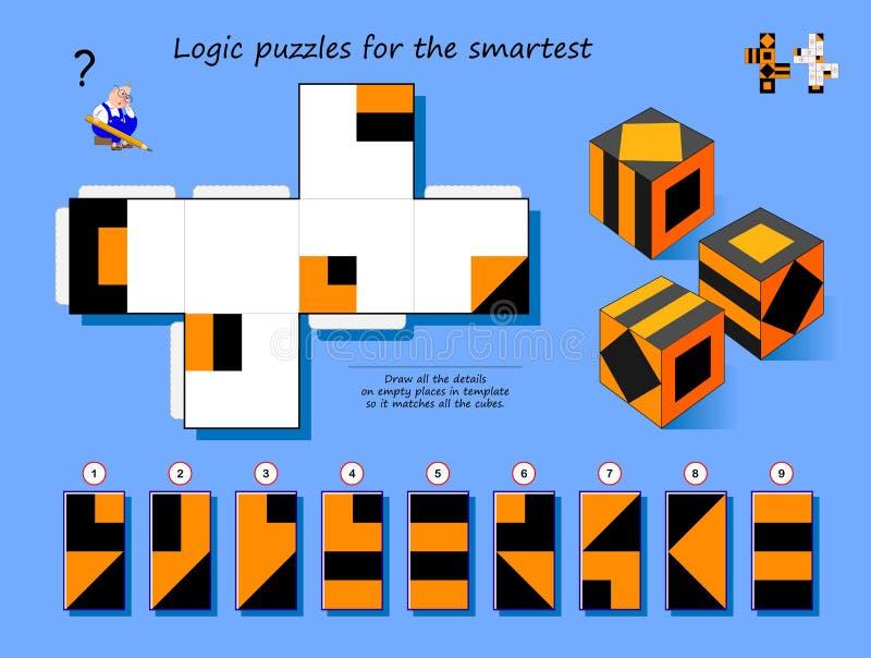 Logical puzzle game for SmartSmart Narysuj wszystkie szczegóły pustych miejsc w szablonie, tak aby pasowały do wszystkich modułów ilustracji