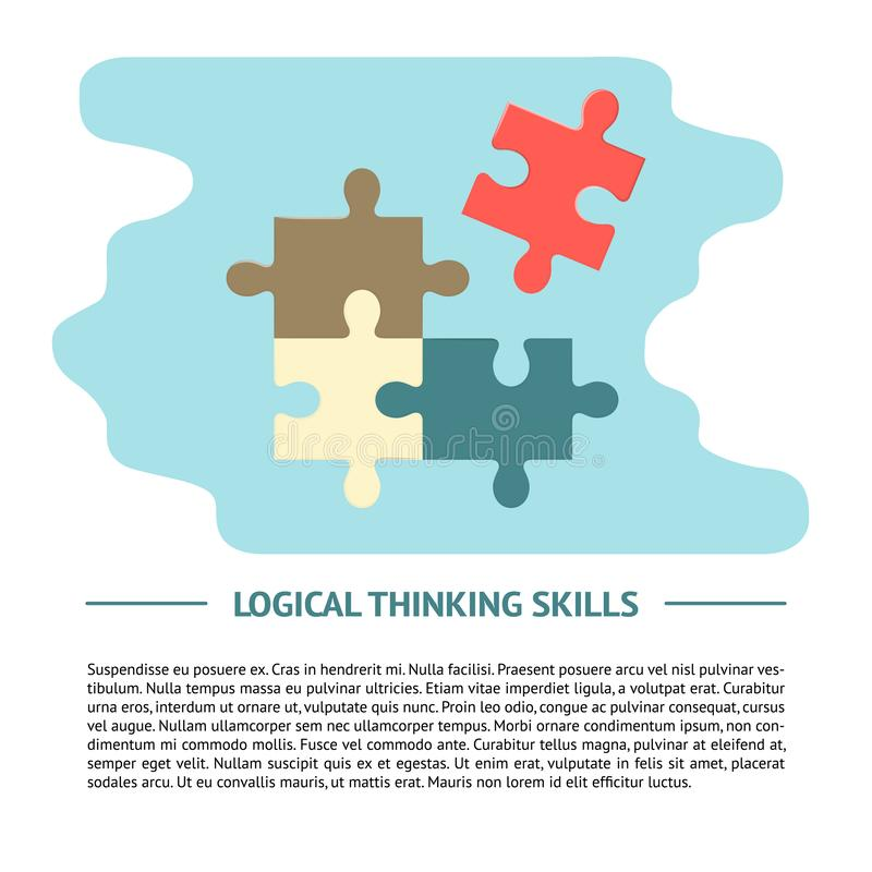 Logical thinking concept illustration in flat style with text vector illustration