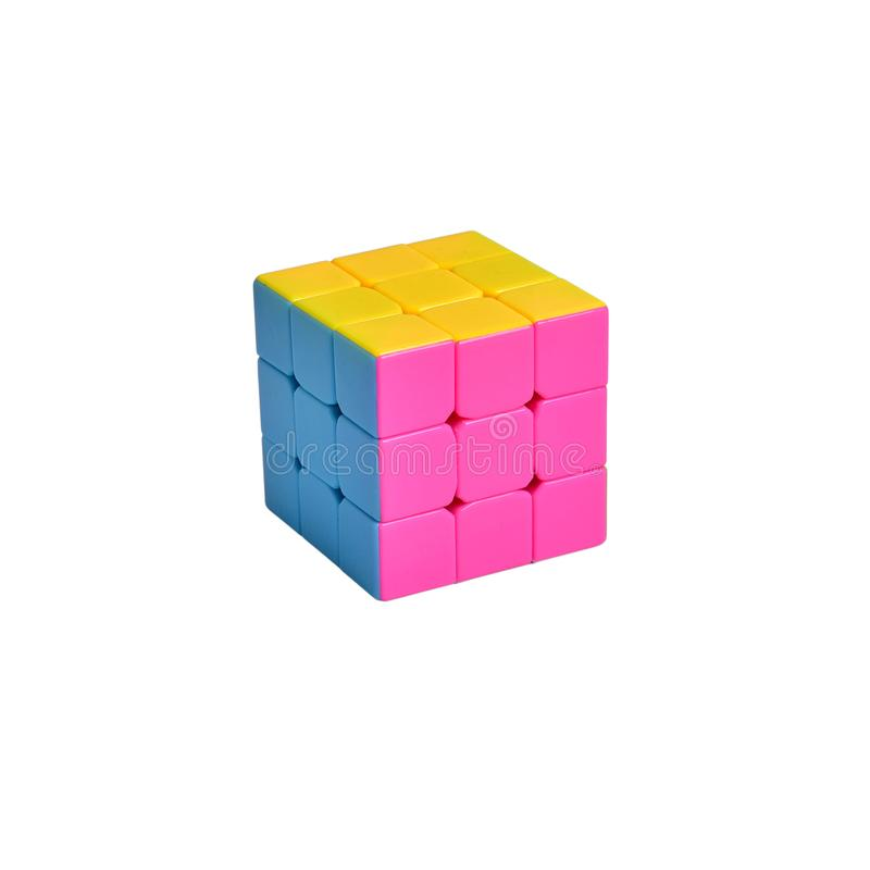 Logical toy puzzle Rubik`s cube on an isolated white background stock photo