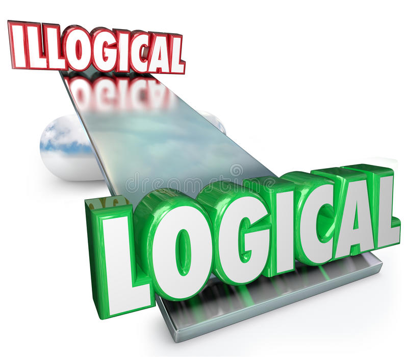 Logical Vs Illogical Words See Saw Balance Scale. Logical Vs Illogical words on a see-saw, balance or scale to weigh the pros and cons of reason, rationale and stock illustration