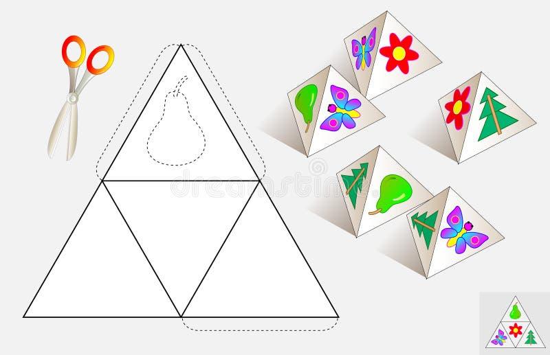 Logicaraadsel Trek de relevante beelden op het patroon, kleur en maak door piramide (zoals getoond op de steekproeven) stock illustratie