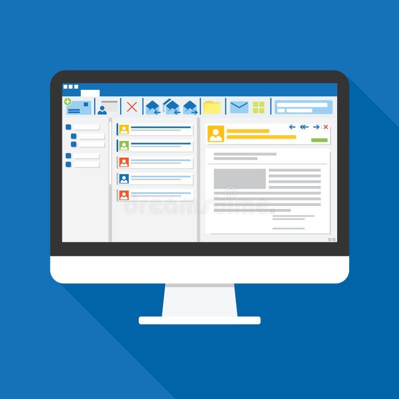 Logiciel de client d'email sur l'icône plate d'écran d'ordinateur Concept d'affaires choses de bureau pour prévoir et rendre comp illustration de vecteur