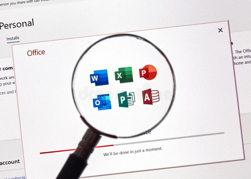 logiciel de la Microsoft Office 365 photos libres de droits
