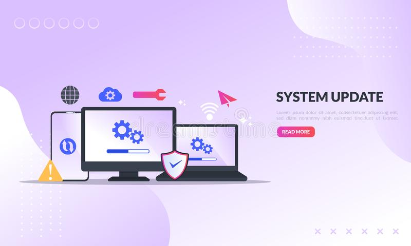 Logiciel de nouvelle version de changement d'amélioration de mise à jour de système Installation du processus de mise à jour, pro illustration de vecteur