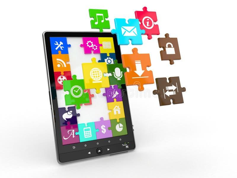 Logiciel de PC de tablette. Écran de puzzle avec des graphismes. illustration de vecteur
