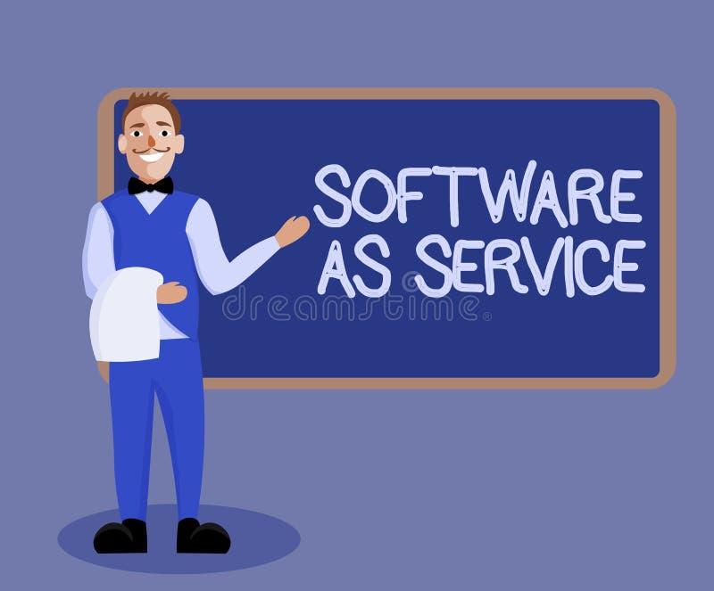 Logiciel des textes d'écriture de Word comme service Concept d'affaires pour sur demande autorisé sur l'abonnement et centralemen illustration libre de droits