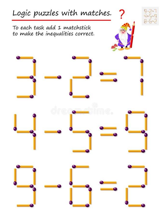 Logiczna ?amig??wki gra z dopasowaniami Each zadanie dodaje 1 matchstick robić nierówność poprawne ilustracji