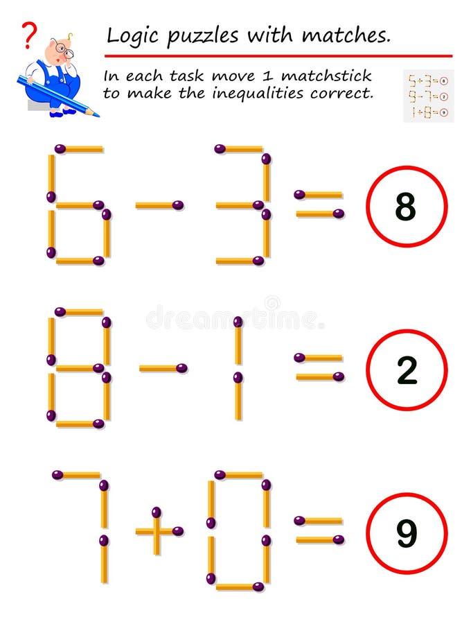 Logiczna ?amig??wki gra z dopasowaniami W each zadanie ruchu 1 matchstick robić nierówność poprawne royalty ilustracja