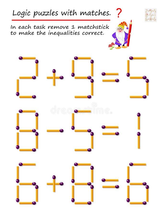 Logiczna ?amig??wki gra z dopasowaniami W each zadaniu usuwa 1 matchstick robić nierówność poprawne ilustracja wektor