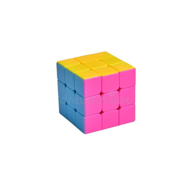 Logiczny zabawkarski łamigłówki Rubik sześcian na odosobnionym białym tle zdjęcie stock