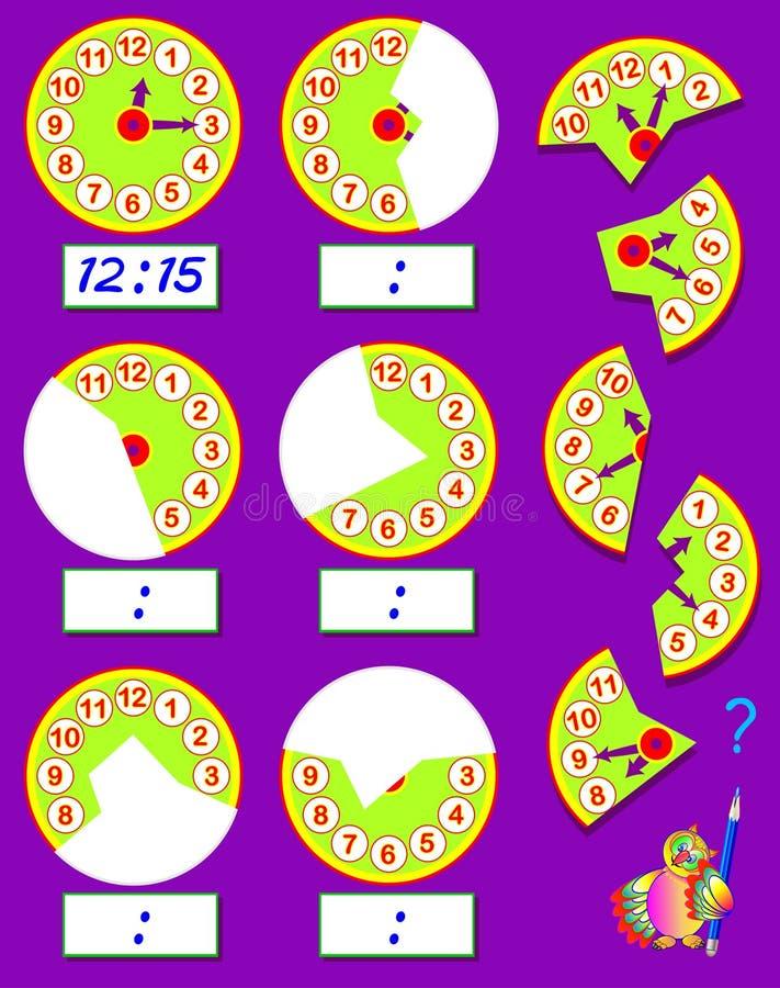 Logikövning för barn Behöv finna de andra delarna av klockor, dra dem i relevanta ställen och skriv korrekt tid stock illustrationer