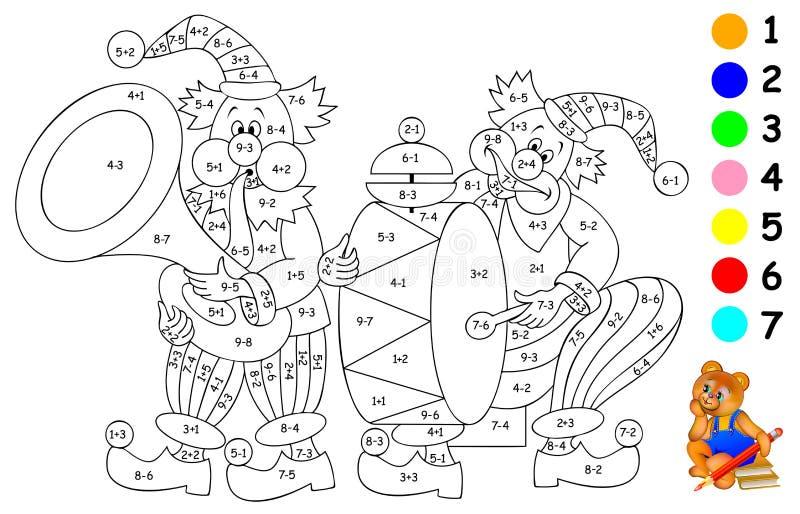 Logikövning för barn Behov att lösa exempel och att måla bilden i relevanta färger vektor illustrationer