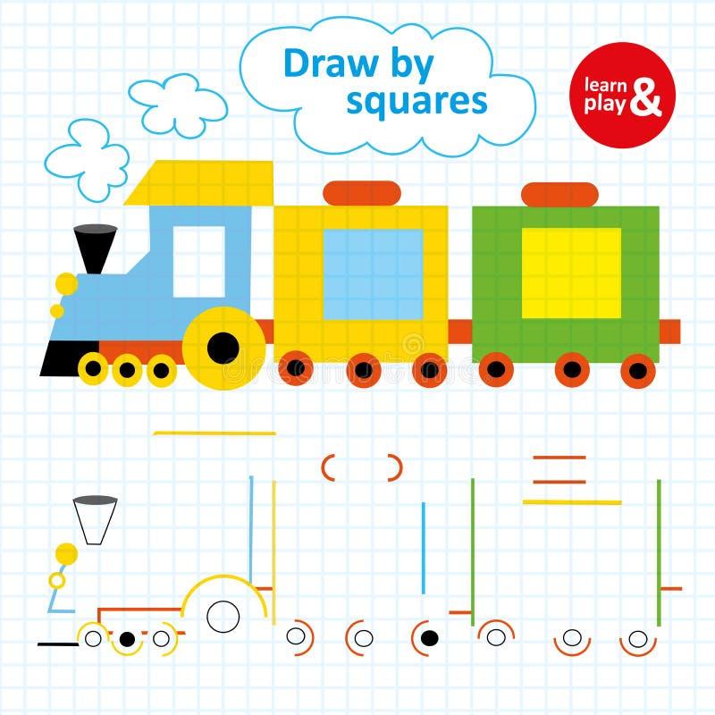 Logikövning för små barn på ett fyrkantigt papper Attraktion och målarfärgdrev genom att använda färgrika pennor Pussellek för stock illustrationer