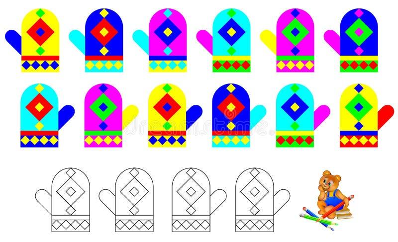 Logikövningen för barn - behöv finna fyra unpaired tumvanten och måla dem i relevanta färger stock illustrationer