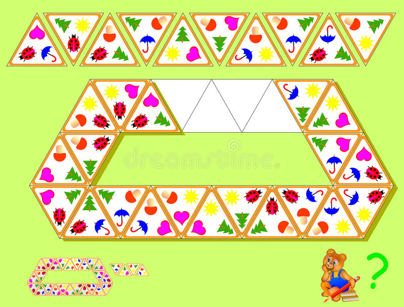 Logik Triominoes-Puzzlespiel Bedarf, vier restliche Dreiecke zu finden und sie an den korrekten Plätzen zu zeichnen vektor abbildung
