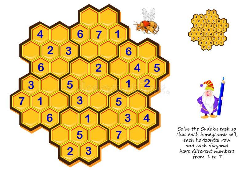 Logiki łamigłówki gra dla dzieci i dorosłych Rozwiązuje Sudoku zadanie tak, że each honeycomb komórka, each horyzontalny rząd i e ilustracji