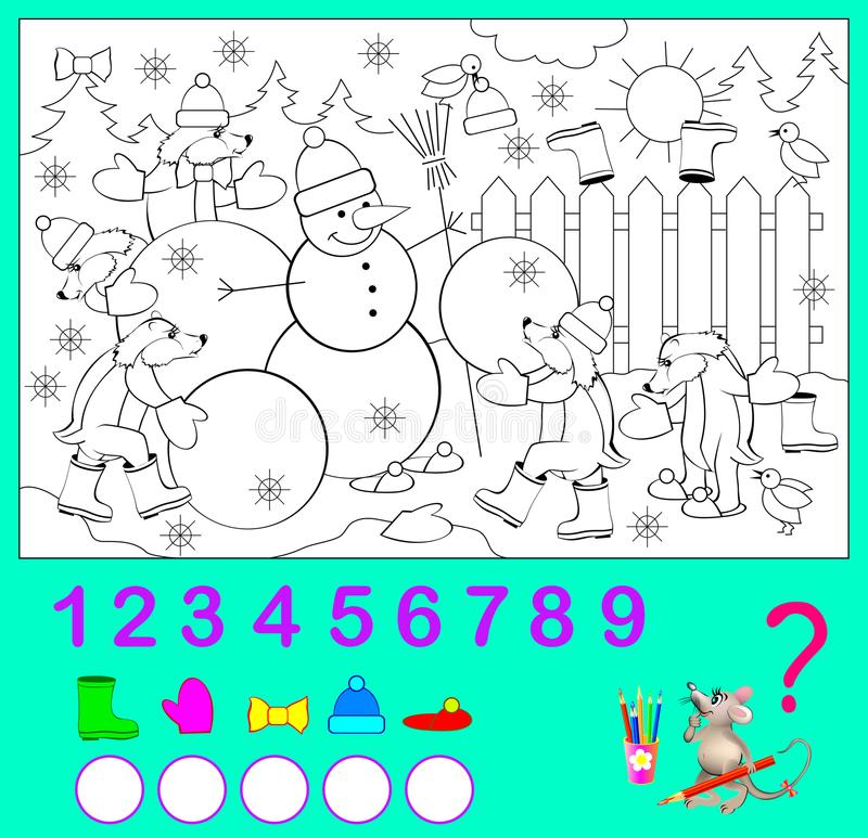 Logiki ćwiczenie dla dzieci Ile przedmiotów ty możesz znajdować w obrazku? Barwi one i pisze liczbach ilustracja wektor