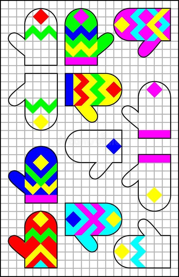 Logiki łamigłówka na kwadratowym papierze Znajduje parę dla each mitynki i maluje je w istotnym ornamencie ilustracji