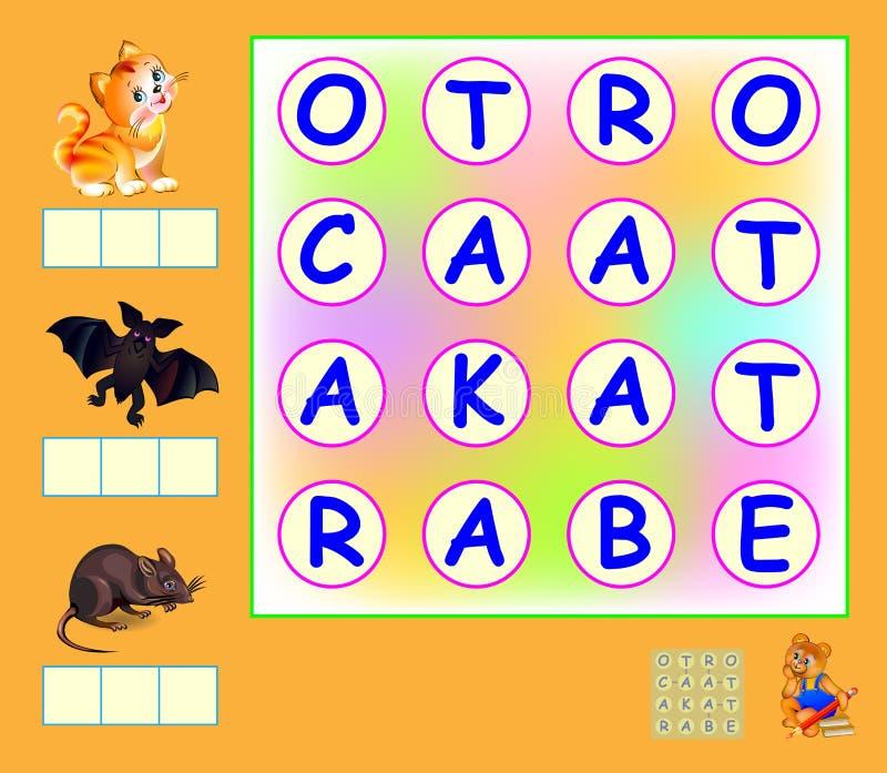 Logiki gra dla uczyć się angielszczyzny Potrzebuje znajdować słowa i łączyć listy liniami pionowo lub horyzontalnymi Pisze słowac ilustracja wektor