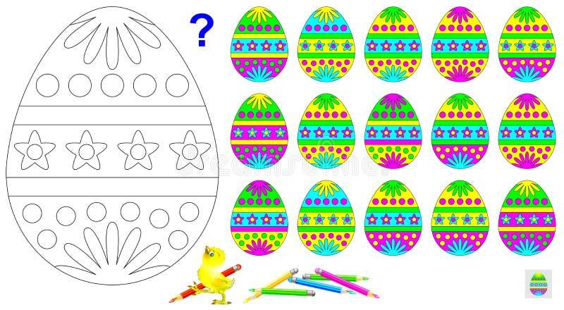 Logikpussel för barn Behöv finna det enda ett unpaired ägget och måla den svartvita teckningen i motsvarande färger royaltyfri illustrationer