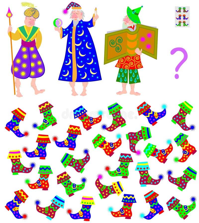 Logikpussellek Behöv finna tre par av kängor för trollkarlar med den absolut identiska modellen stock illustrationer
