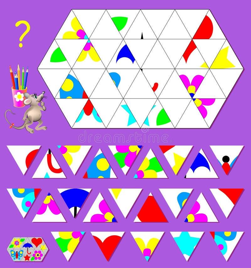 Logikpussellek Behov att finna det korrekta stället för varje triangel och att dra dem i tomma ställen stock illustrationer