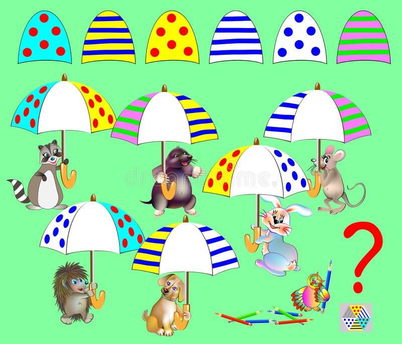 Logikpussellek för barn Motsvarande detaljer för fynd och att dra dem i tomma ställen Alla paraplyer är identiska stock illustrationer