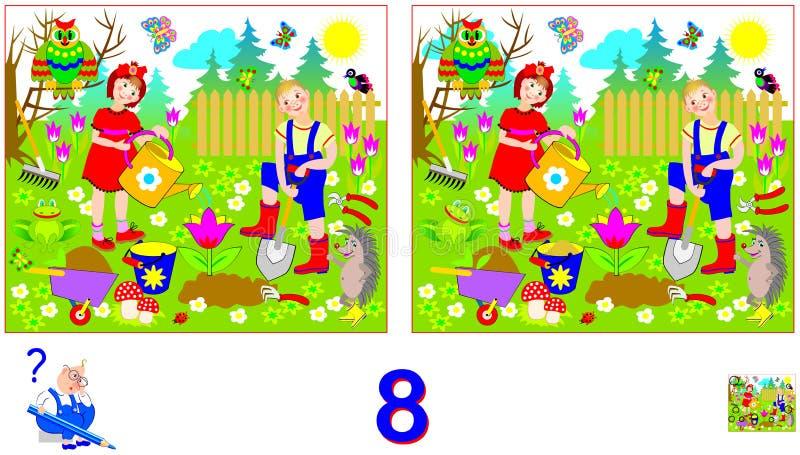 Logikpussellek för barn och vuxna människor Behov att finna 8 skillnader Framkallande expertis för att räkna stock illustrationer
