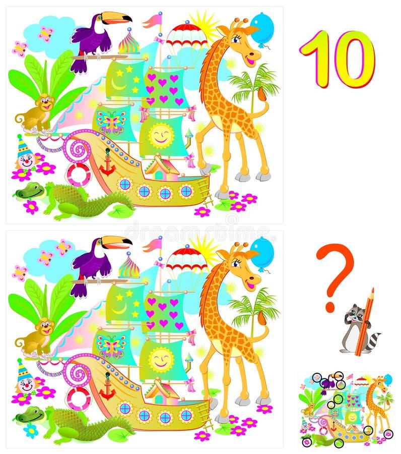 Logikpussellek för barn och vuxna människor Behov att finna 10 skillnader Framkallande expertis för att räkna royaltyfri illustrationer