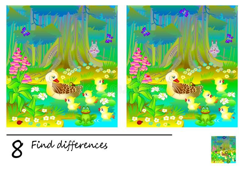 Logikpussellek för barn och vuxna människor Behov att finna 8 skillnader Framkallande expertis för att räkna Vektortecknad filmbi stock illustrationer
