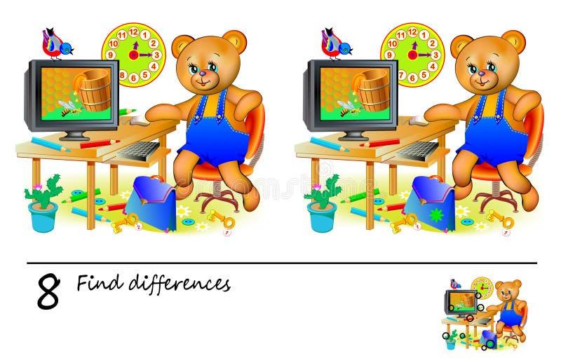 Logikpussellek för barn och vuxna människor Behov att finna 8 skillnader Framkallande expertis för att räkna Vektortecknad filmbi royaltyfri illustrationer