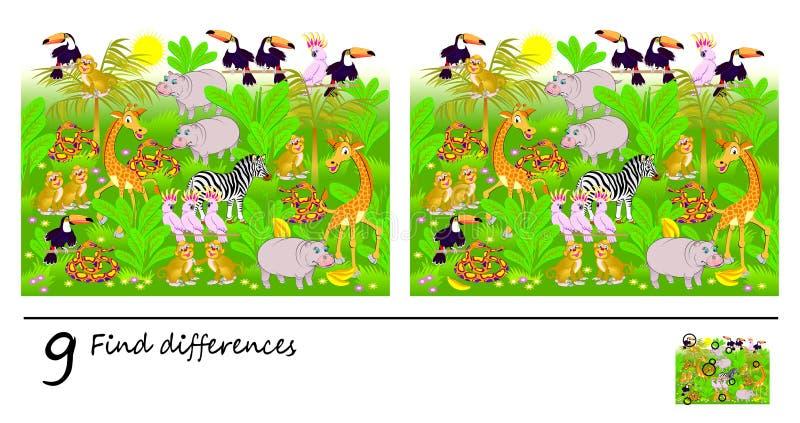 Logikpussellek för barn och vuxna människor Behov att finna 9 skillnader Sidan för behandla som ett barn boken Framkallande exper royaltyfri illustrationer