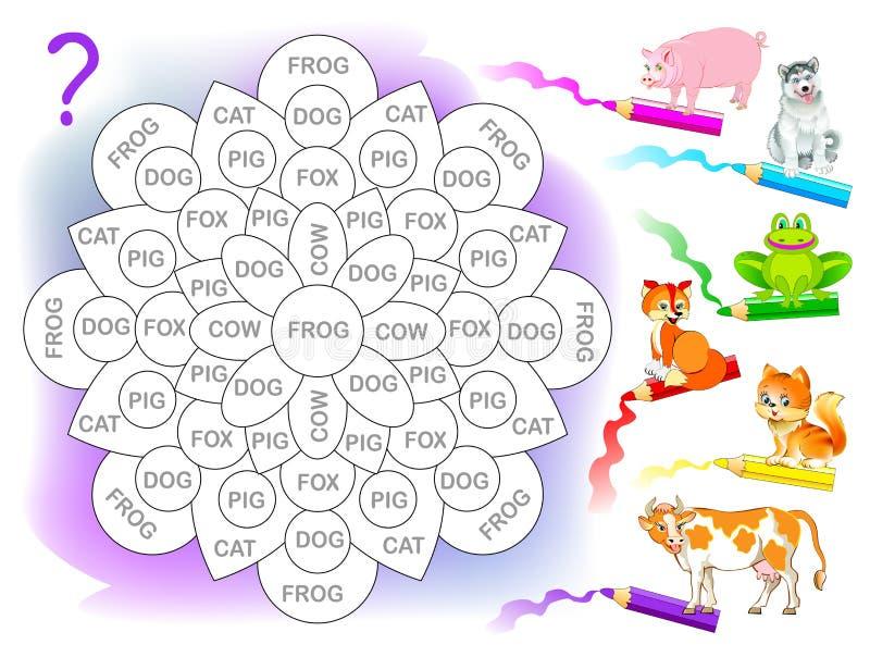 Logikpussellek för barn för studieengelska Läs orden och måla blomman i motsvarande färg av varje djur stock illustrationer