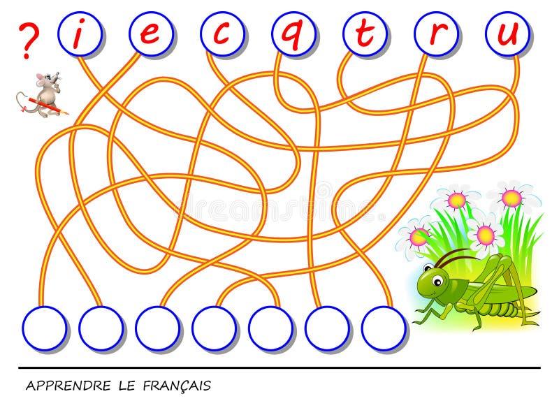 Logikpussellek för franskt språk för studie med den gulliga syrsan Finna de korrekta ställena för bokstäver, skriv dem i relevant vektor illustrationer