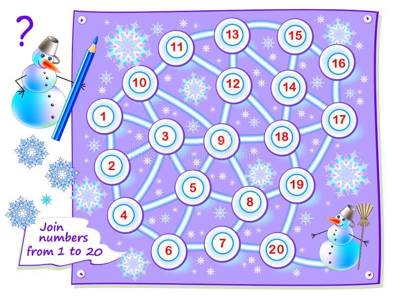 Logikpussellek för små barn med labyrinten för hård nötbok Dra banan för att förbinda nummer från 1 till 20 vektor illustrationer