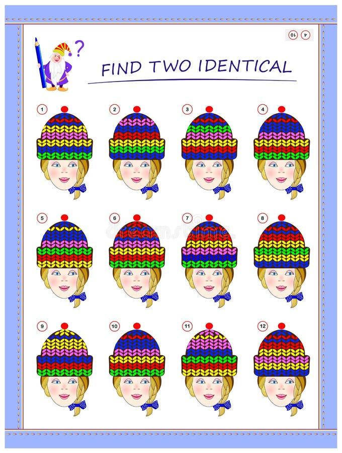Logikpussellek f?r sm? barn Behöv finna två flickor med identiska lock Bildande sida f?r ungar royaltyfri illustrationer