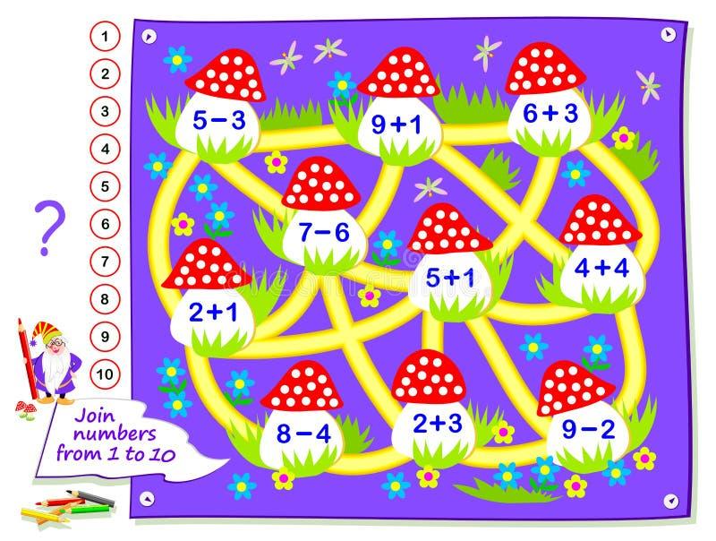 Logikpussellek f?r sm? barn Matematiklabyrint för ungeskolalärobok Lösta exempel, attraktionbana som förbinder champinjoner royaltyfri illustrationer