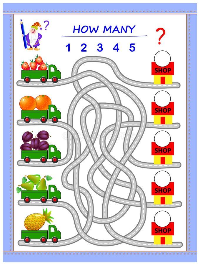 Logikpussellek f?r sm? barn Var måste lastbilarna leverera frukter? Räkna antalet och skriv numren vektor illustrationer