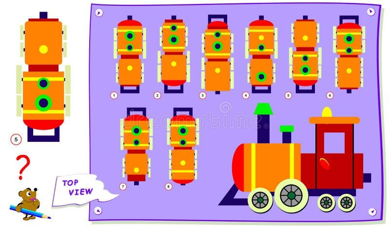 Logikpussellek f?r ungar Behöv finna korrekt bästa sikt av lokomotivet Arbetssedel f?r skolal?robok vektor illustrationer