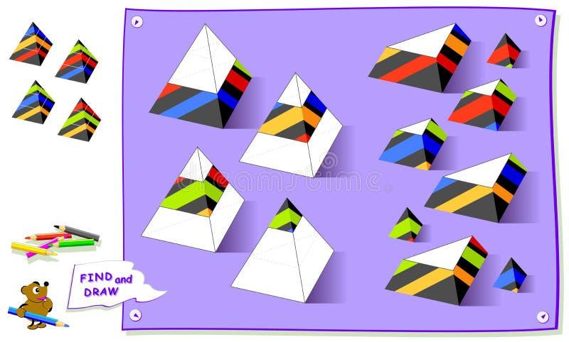 Logikpussellek f?r ungar Behöv finna saknade delar av pyramider och måla dem i korrekta ställen Arbetssedel f?r skolal?robok stock illustrationer
