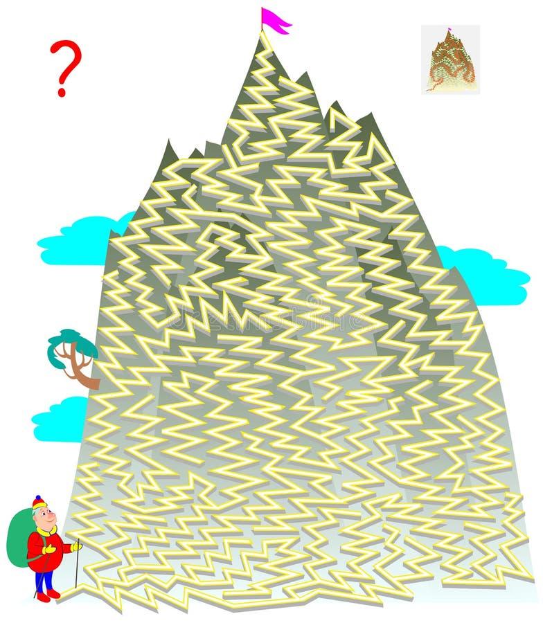Logikpussellek med labyrinten för barn och vuxna människor Hjälp turisten att finna vägen till överkanten av berget vektor illustrationer