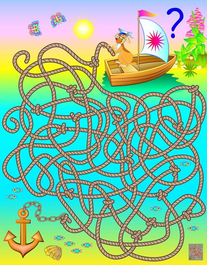 Logikpussellek med labyrinten Förbinder vilket rep till ankaret? royaltyfri illustrationer