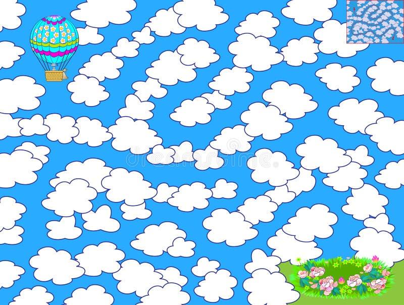 Logikpussellek med labyrinten f?r barn Hjälp luftballongen för att finna vägen att flyga mellan molnen och landet i ängen vektor illustrationer