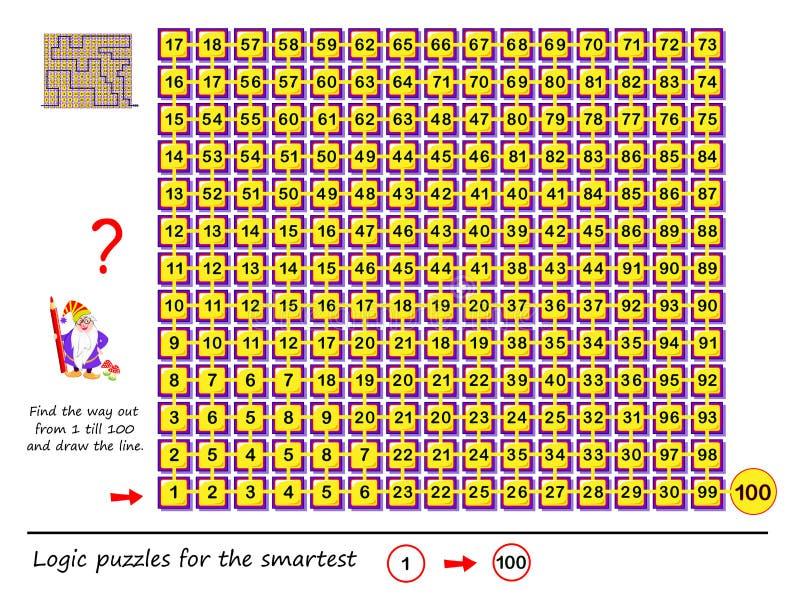 Logikpussellek med labyrinten f?r barn och vuxna m?nniskor Finna utfarten fr?n nummer 1 brukar 100 och drar linjen stock illustrationer